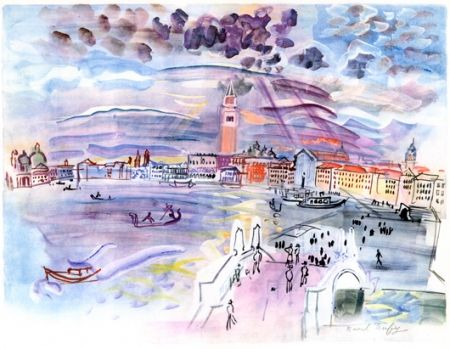 Lithographie Dufy - Venise- Two Woman at night