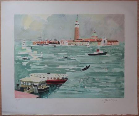 Lithographie Brayer - Venise vue de la mer