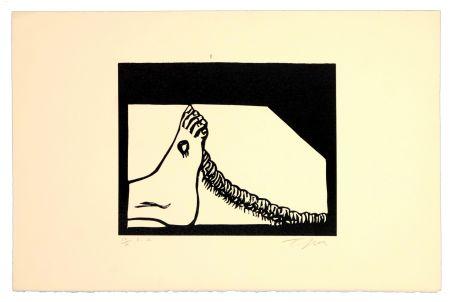 Linogravure Topor - Ver à pied
