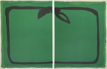 Lithographie Hernandez Pijuan - Verd i orla negra / Green, and black border