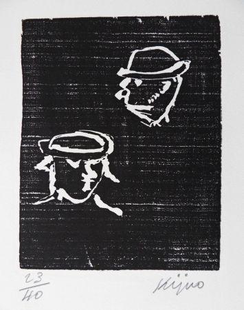 Gravure Sur Bois Kijno - Verlaine et Rimbaud