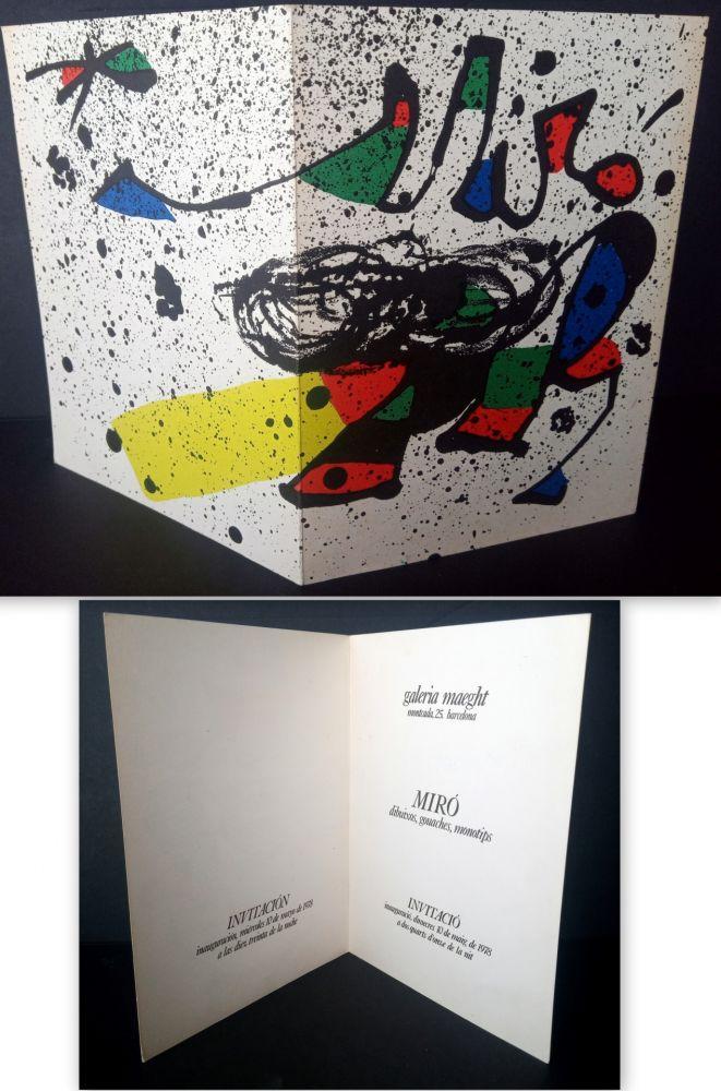 Lithographie Miró - Vernissage Miró Dibuixos, Gouaches, Monotips Galeria Maeght