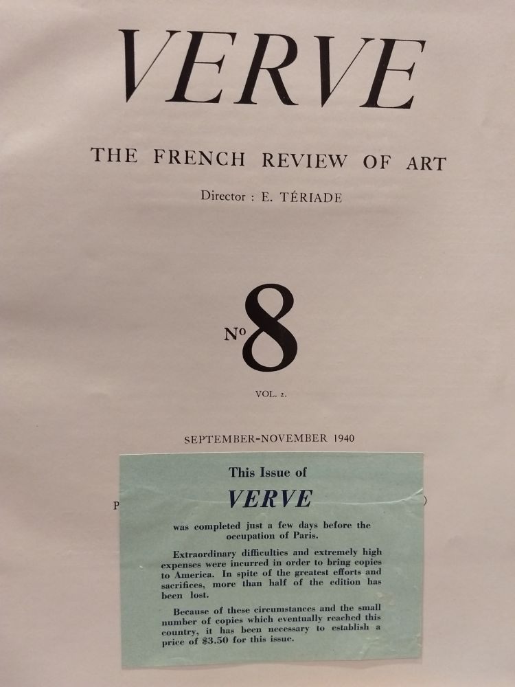 Livre Illustré Matisse - Verve no 8 English