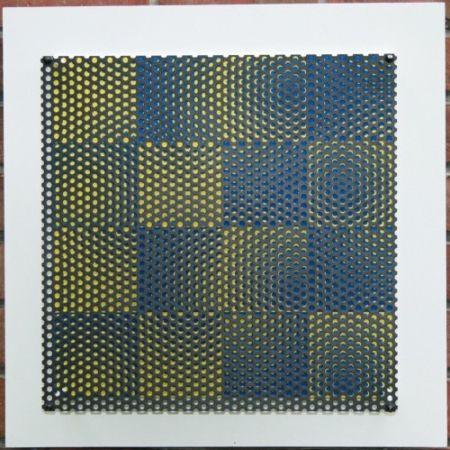 Gravure Sur Bois Asis - Vibration 16 carres bleu et jaune