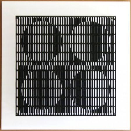 Gravure Sur Bois Asis - Vibration 4 cercles noir et blanc