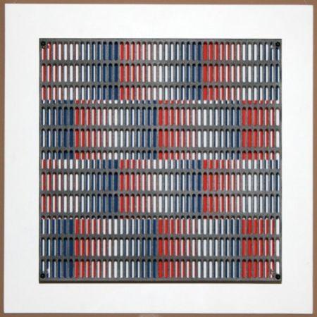 Gravure Sur Bois Asis - Vibration bandes bleus et rouges