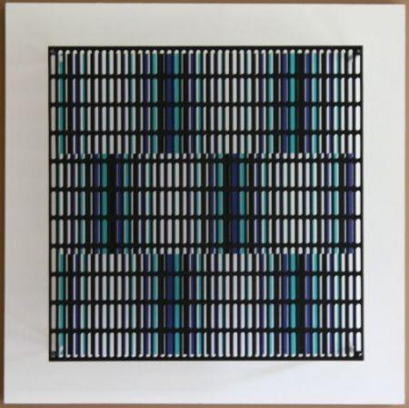 Gravure Sur Bois Asis - Vibration bandes noir, bleu et turquoise