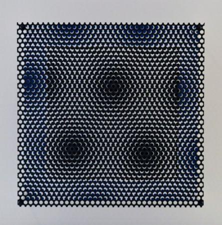 Gravure Sur Bois Asis - Vibration carré noir et bleu