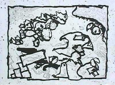 Gravure Alechinsky - Vibrions (N&B)