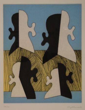 Gravure Gebhard - Vier Köpfe