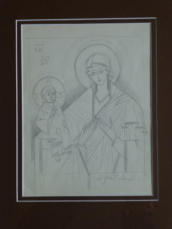Aucune Technique Goncharova - Vierge à l'enfant ,projet pour une icône