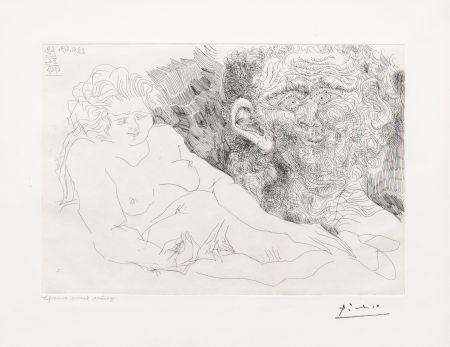 Gravure Picasso - Vieux Peintre et Vieux Modele