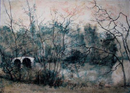 Lithographie Gantner - Vieux pont sur la rivière
