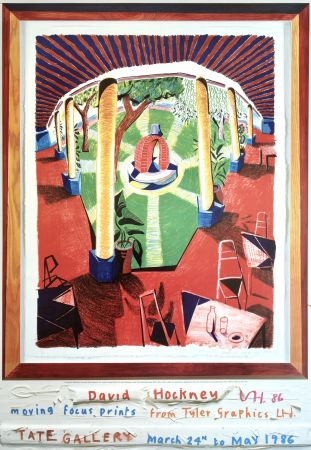 Lithographie Hockney - 'Views of Hotel Well III' Hand Signed Exhibition Poster 1986