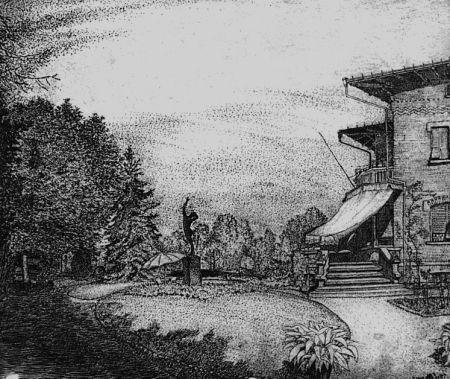 Eau-Forte Bozzetti - Villa Colonna. Il giardino