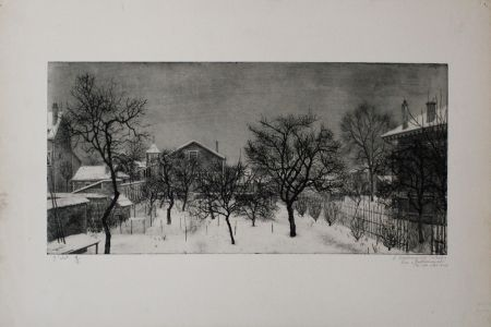 Eau-Forte Et Aquatinte Ciry - Village en hiver
