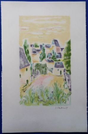 Lithographie Cavailles - Village en Provence