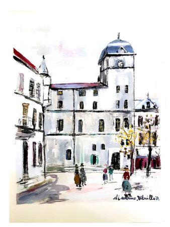Lithographie Utrillo - Village inspiré de Montmartre