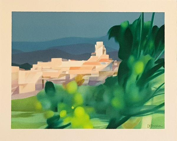 Lithographie Defossez - Village Mediterannen
