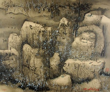 Lithographie Wang - Villages In The Snow