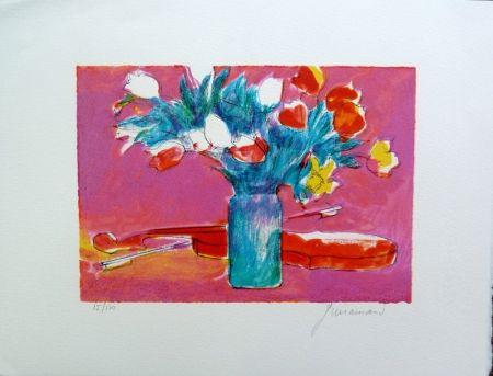 Lithographie Guiramand - Violon et Bouquet