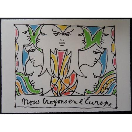 Lithographie Cocteau - Visages l'Europe