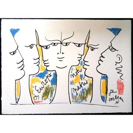 Lithographie Cocteau - Vision de Jean Monnet