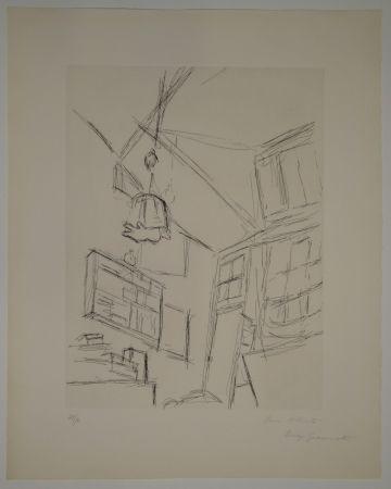 Eau-Forte Giacometti - Vision depuis le lit dans la chambre rue Hippolyte Maindron / Vision du Lit et Abat-jour (View from the Bed, with Lampshade).