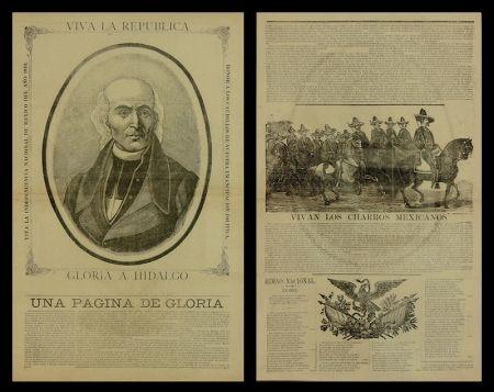 Gravure Sur Bois Posada - Viva la Republica - Gloria a Hidalgo/Vivan Los Charros