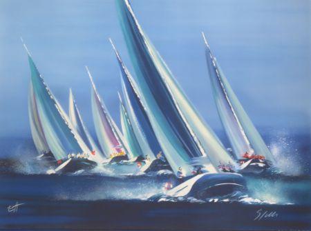 Lithographie Spahn - Voiles bleues
