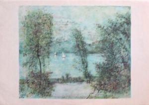 Lithographie Gantner - Voiliers sur le lac
