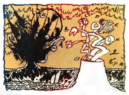 Lithographie de pierre alechinsky volcan sur amorosart for Alechinsky lithographie