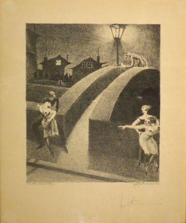 Lithographie Tschumi - Vorstadtnacht