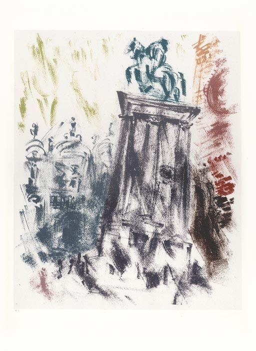 Lithographie Masson - Voyage à Venise : Statue du Colleoni, le soir