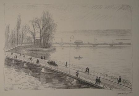 Eau-Forte Marquet - Vue de deux Ponts (L'île Rousseau, Genève).