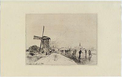 Gravure Jongkind - Vue de la ville de Maassluis, in Eaux-fortes modernes publiées par la Société des Aqua-fortistes.