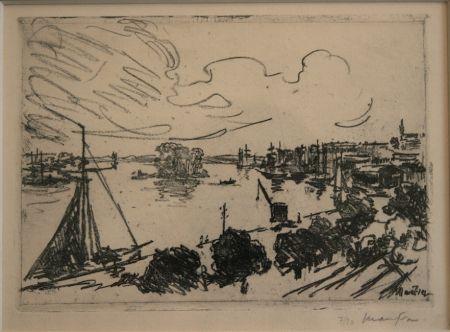 Lithographie Maufra - Vue de Port.