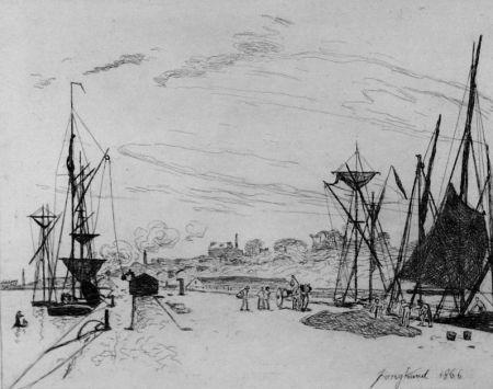 Eau-Forte Jongkind - Vue du port au chemin de fer a Honfleur