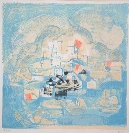 Lithographie Bolin - Vue d'un port