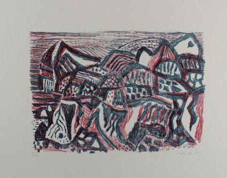 Lithographie Bargheer - Vulkanische Landschaft