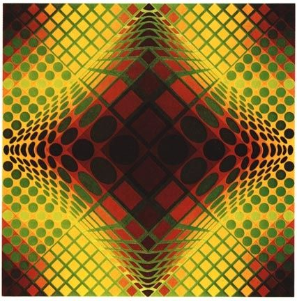 Sérigraphie Vasarely - VY-47-C, from the portfolio Gaia, (1975)