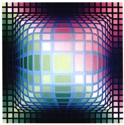 Sérigraphie Vasarely -  VY-47-E, from the portfolio Gaia, (1975)