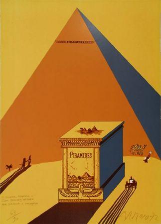 Lithographie Arroyo - W. Churchill, Napoleone e Saul Steinberg all 'ombra delle Piramidi a Mezzogiorno