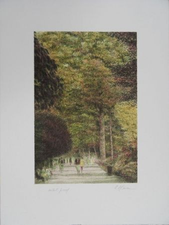 Lithographie Altman - Walking in Central Park