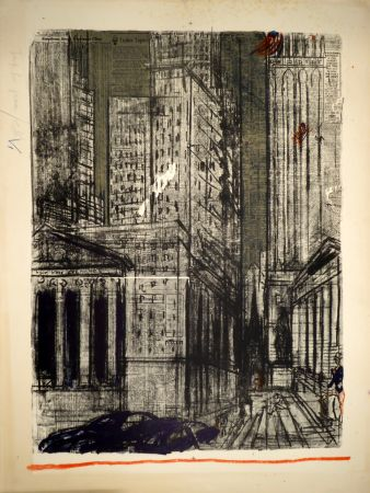 Lithographie Varlin (Guggenheim, Willy) - Wall-Street