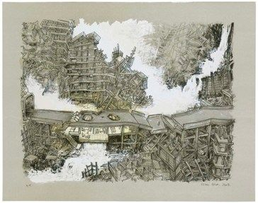 Lithographie Oiwa - Waterfall House