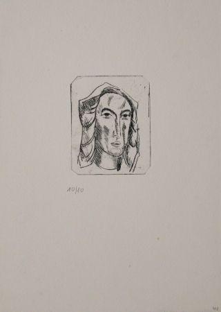 Gravure Tappert - Weiblicher Kopf mit Tuch