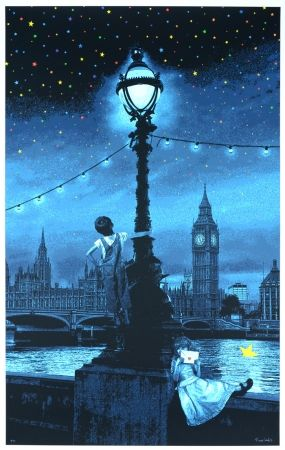 Sérigraphie Roamcouch - When you wish upon a star - London (blue edition)