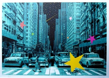 Sérigraphie Roamcouch - When you wish upon a star NYC (green edition)