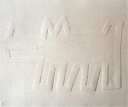 Sérigraphie Haring - White Icons: Barking Dog
